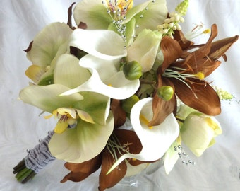 Orchid wedding bouquet green and creme orchid and rose with brown lily bouquet and boutonniere set