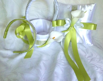 Calla lily flower girl basket ring bearer pillow  head band set