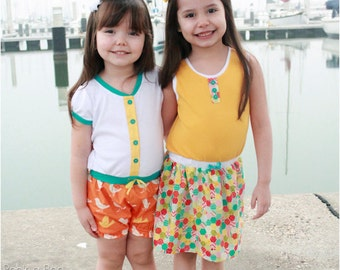 Amelia Dress and Romper: Girls Knit Dress Pattern, Romper Pattern