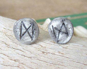 Rune earrings dagaz studs earrings runes hand made clay witchy mystical pagan wicca wiccan jewelry witchcraft viking elder futhark