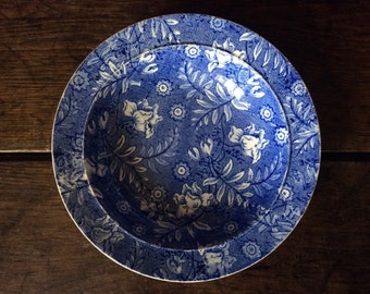 Vintage English blue and white small deep dish bowl circa 1920's / English Shop