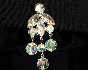 Vintage Clear Rhinestone Chandelier Earrings with Aurora Borealis Crystals