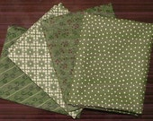 Fat Quarter Bundle of Merry Medley in Green by Sandy Gervais for Moda