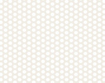 "End of Bolt 15"" Muslin Mates White Polka Dots by Moda"