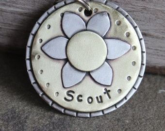 XL Dog Id tag- metal pet id tag for large dogs- flower-  XL floating daisy