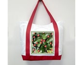Christmas Red Handle Tote Bag, Holly Berry , New Canvas Styling, Original Photography  By Loves Paris Studio, 5 Styles,  FREE SHIPPING USA