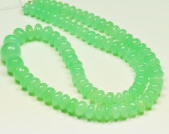 """8"""" 6mm - 10mm Chrysoprase AAA smooth beads ch004 90ct"""