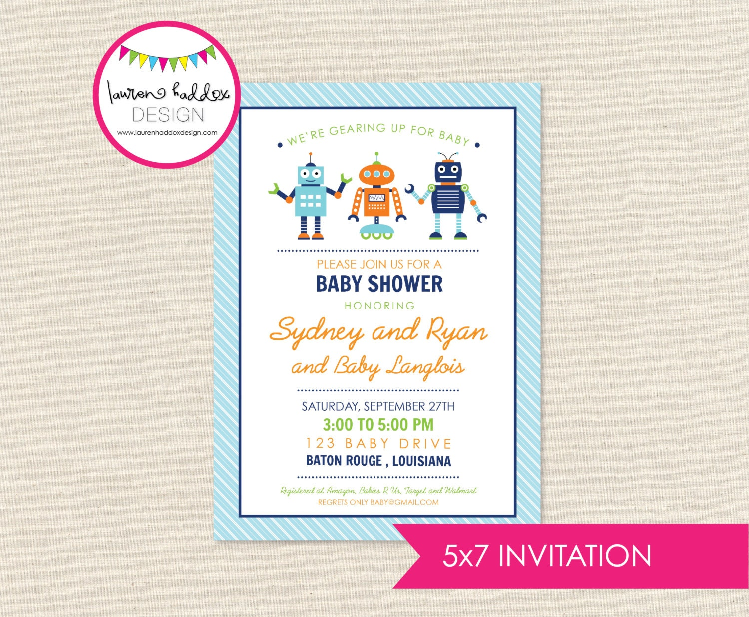 diy robots baby shower invitation only