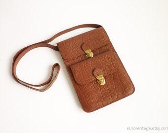 Vintage Small Leather Shoulder Bag / Kindle Ipad Mini Bag Purse Pouch