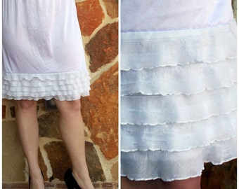 SALE Dress Extender Slip White Tiered Ruffle: Available in black, cream, bright pink, white, navy, brown, and turquoise.
