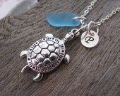 Sea Turtle Jewelry Sea Glass Necklace  Personalized Hand Stamped Charm Necklace Aqua Blue Beach Glass Bridesmaids Jewelry Beach Wedding Gift