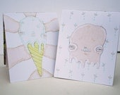 Two Hand Sewn Pocket Notebooks - Ice Cream Cone Pink Slime Illustration - Recycled