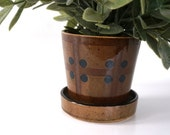 Vintage planter, Minimalist Geometric Design, brown pattern, built-in drip tray, Made in Japan