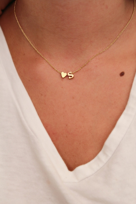 dainty lowercase initial necklace initial and heart necklace. Black Bedroom Furniture Sets. Home Design Ideas