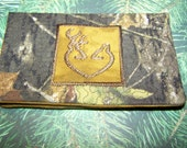 Quilted Mossy Oak Checkbook Cover with Brown Embroidered Deer Heart