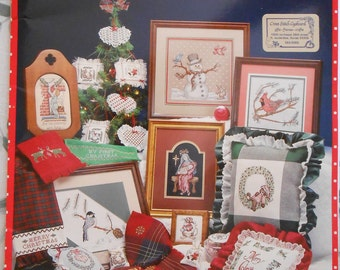 A Cross My Heart Christmas Counted Cross Stitch Leaflet with 15x15 24 Count Heartland Canvas