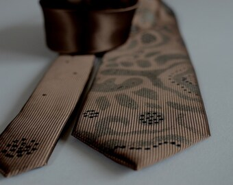 Hand painted necktie brown, abstract design men neck tie, gift for men, unique neck tie - Hand painted accessory for man OOAK ready to ship