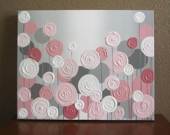 Pink and Grey Textured Flower Nursery Art, Original Painting on Canvas, Custom Sizing