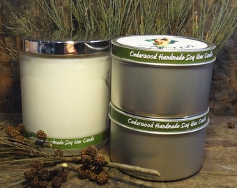 Cedarwood  Handmade Soy Wax Candle - (Essential Oil) -  Flat Rate Shipping Now Available!