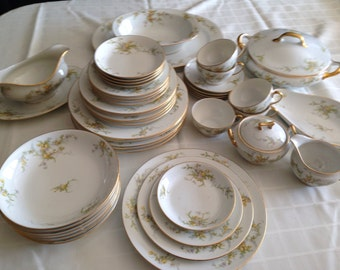 Vintage Dinnerware Limoge France with Yellow Roses and Violets Trimmed in Gold 1920-1930s