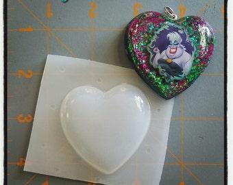 2 inch Bubble Heart Flexible Plastic Resin Mold