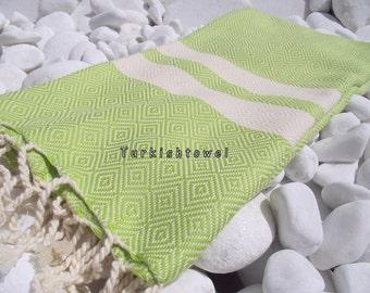 Turkishtowel-2014 spring collection-Hand woven,20/2 cotton warp and weft,Diamond Turkish Bath,Beach Towel-Lime Green,natural cream