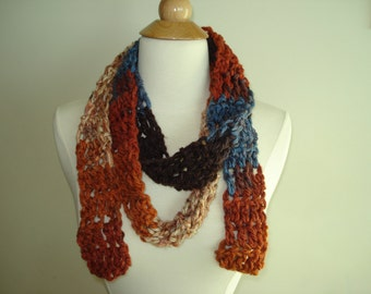 Handmade Pumpkin Spice Crochet scarf in a funky Fall mix of Brown/Blue/Khaki and Orange.