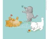 Children's Wall Art Print - Kids Decor - Whimsical and Sweet Wall Art Illustration - kids nursery - Cute Animal Series - The Kittens