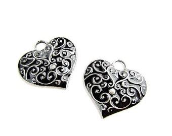Dark Heart Pendants / Black Enamel Pendant
