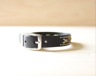 X Stitched and Mini Ball Studded Leather Bracelet(Black)
