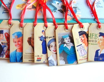 Stewardess Gift Tags A - Vintage Airplane Travel American Airlines Air Hostess Flight Attendant - Set Of 8 Extra Small Assorted Tags