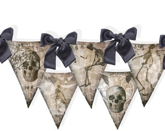 Halloween banner Macabre  gothic grunge  skeleton flags DIY craft kit printable