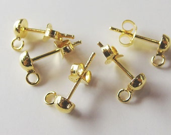 4 Pairs of 925 Sterling Silver 24K Gold  Vermeil Style Post Stud Earrings  4mm Half Ball with Opened Loop  :vm0488