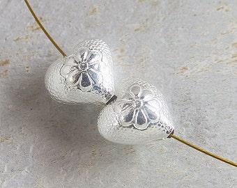 4 of Karen Hill Tribe Silver Flower Printed Heart Beads 12 mm. :ka3934