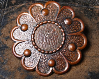 Vintage copper ethnic style brooch