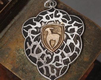 Vintage metal pendant, charm. Astrological sign Capricorn