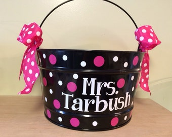 Personalized Gift basket, 16 quart metal bucket, name or monogram, polka dots, Teacher, Easter, baby, or birthday gift