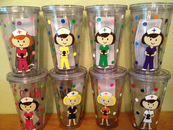 Quantity  of 10 Personalized with name acrylic tumbler or water bottle - Nurse, RN, Doctor, Technician, Dental hygienist, Vet, Teacher