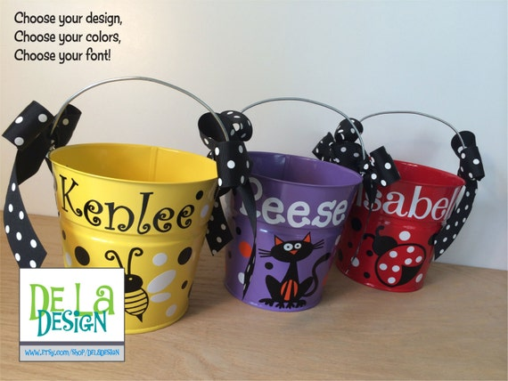 Personalized Metal Bucket 2 Quart Toddler Size Pail By