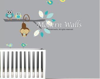 Children Vinyl Wall Decal Branch with Owls Birds-Nursery Tree Decals
