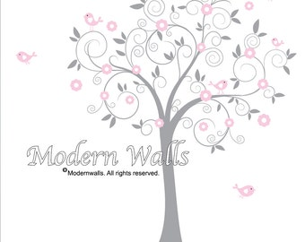 Vinyl Wall Decal Sticker Tree with Owl Flower Birds
