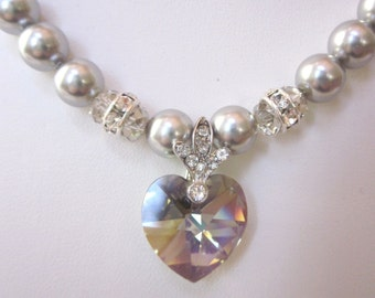 Swarovski Pearl and Crystal Necklace - Light Gray Swarovski Pearls and 18mm Black Diamond Heart - Wedding, Brides, Bridesmaids, Proms, SRAJD