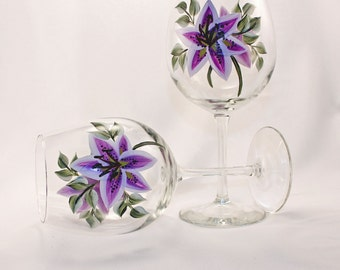 Hand Painted Wine Glasses, Lavender Lily