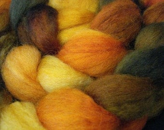Hand Dyed SW BFL/Nylon Top 85/15 - 4 Ounces - Gold, Pumpkin and Dark Olive Green