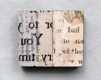 Babel Block - found reverse text original collage magnet