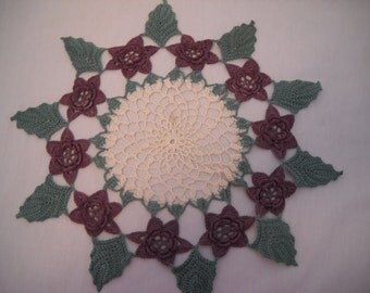 Vintage Crochet Doily Purple Flower Handmade
