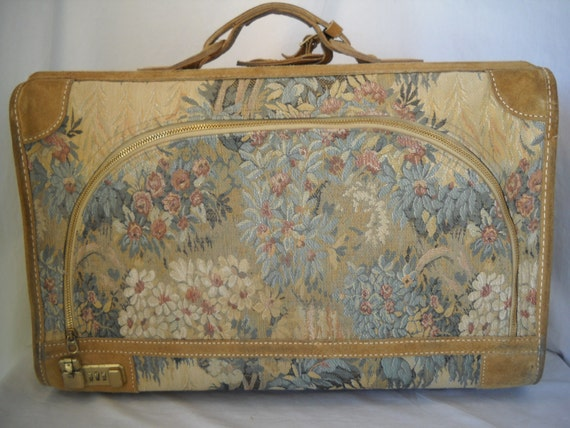 Vintage French Luggage Company Tapestry Luggage Large Suitcase