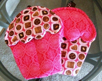 Handmade Boxed Chocolates Themed Cupcake oven mitts with Pink, Chocolate, and white Material pot holders