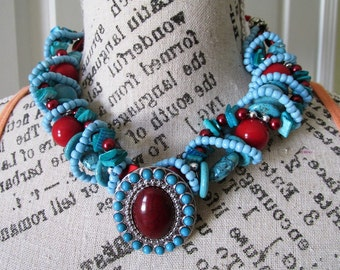 Statement Necklace Turqoise, Red, and Silver wire wrapped Necklace with oval red and turquoise focal