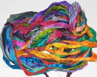 Recycled Sari Silk Ribbon Yarn multi #18 color, 65 yards,  free shipping 3.5 oz / 100 grams